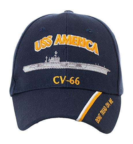 Artisan Owl Officially Licensed USS America CV-66 Embroidered Navy Blue Baseball Cap
