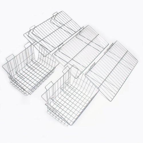 Proslat 11003 Garage Organizer Value Pack with 3 Shelves and 2 Steel Baskets, Designed for Proslat PVC Slatwall (Slat Two Shelves)