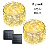 Binval Solar String Lights, 72ft 200Led, Copper Wire Led String Lights Ambiance Lighting Patio, Lawn, Garden, Landscape, Home, Wedding, Christmas Party, Xmas Tree, Waterproof (Warm White, 2-Pack)