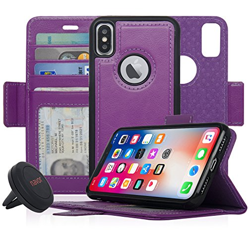 Navor Detachable Magnetic Wallet Case and Universal Car Mount Compatible for iPhone Xs/X [RFID Protection] [Vajio Series]-Purple