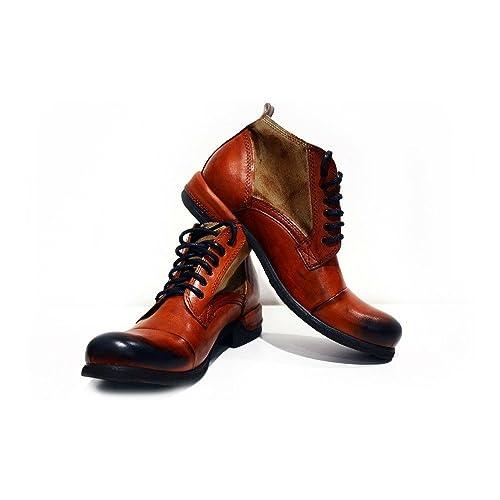 Modello Genua - Cuero Italiano Hecho A Mano Hombre Piel Naranja Botas Bajas Botines - Cuero Cuero Pintado a Mano - Encaje: Amazon.es: Zapatos y complementos