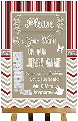 Juego mensaje Jenga rojo y gris caja de madera personaliseitonline tarjeta impresa boda señal Medium A4: Amazon.es: Oficina y papelería