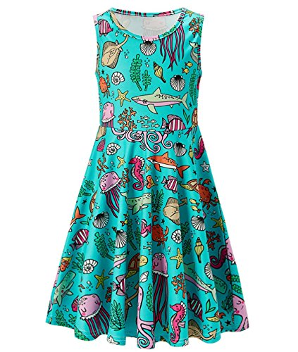 Idgreatim Girls Fashion Graphic Summer Round Neck Dress Sleeveless for Party ()
