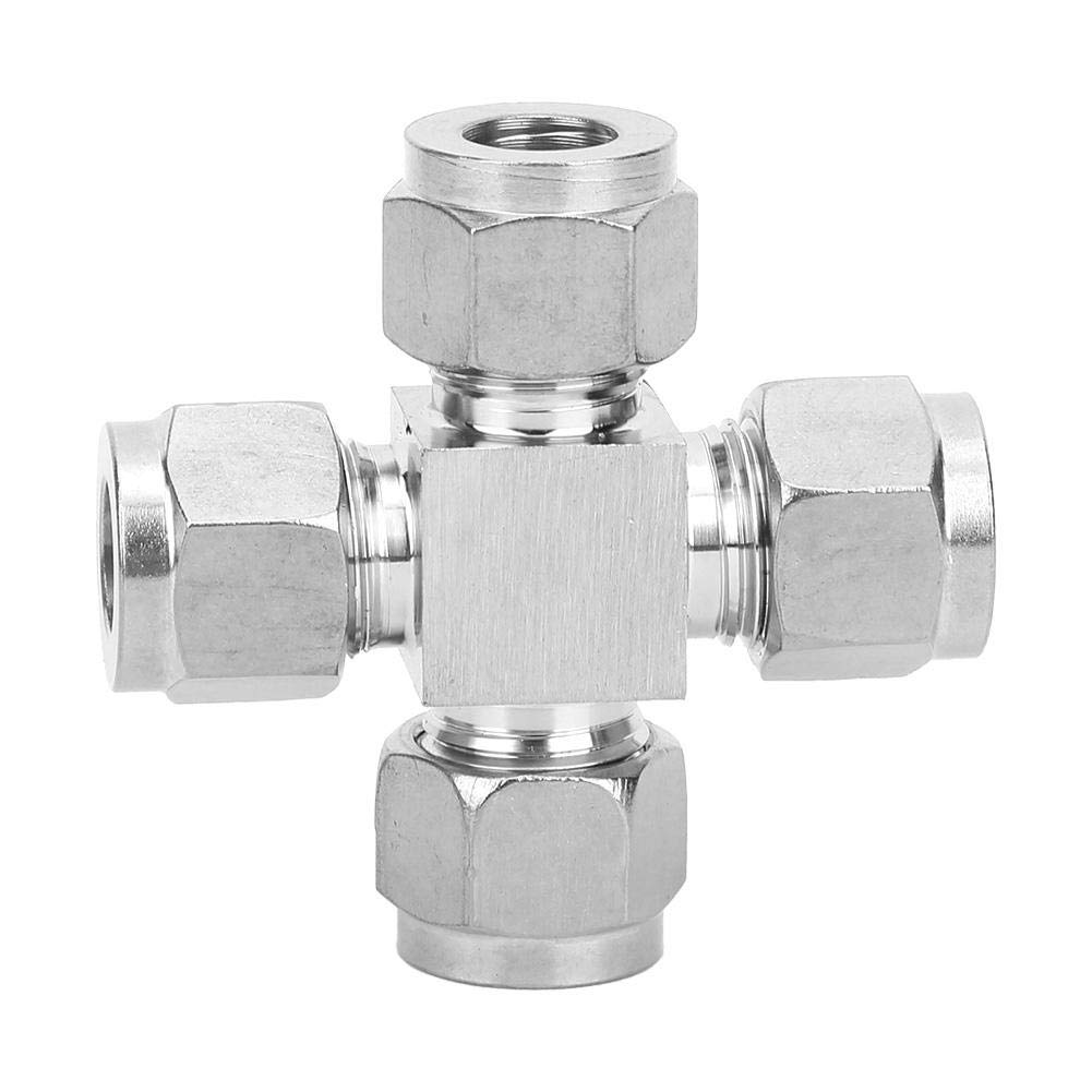 Cross Coupling Push Connect Fittings Tube Adapter for Air Water Oil 304 Stainless Steel 4 Way 1.7cm OD 1.1cm ID Quick Connect Air Line Coulper Silver