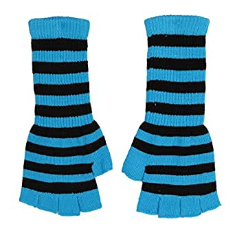 Fingerless knit Gloves - Comes in several colors! (Black/Blue)