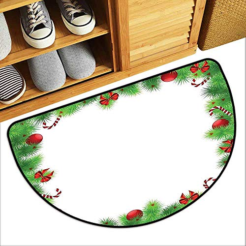 YOFUHOME Christmas Thin Door mat December Holiday Themed Collection of Xmas Themed Trinkets on Pine Tree Frame Personality W29 x L17 Fern Green Red