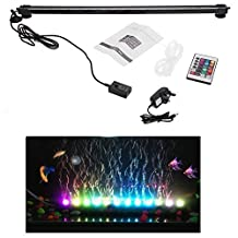 T Tocas 21 LED RGB Underwater Aquarium Light Bar with Air Bubble, Colorful Fishing Tank Lamp with Remote Control