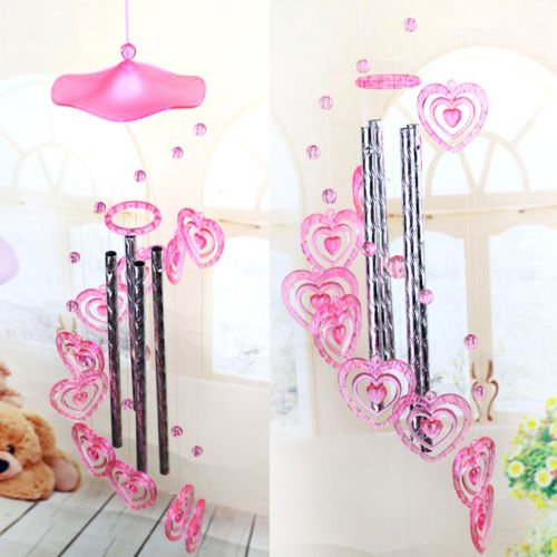 OKOKMALL US--Heart Plastic Wind chime Dophin Home Garden Decor for Lover Valetines Gifts WC