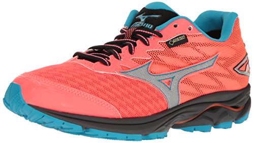 Mizuno Women's Wave Rider 10 GTX Running Shoe, Raspberry/Capri, 6 B US