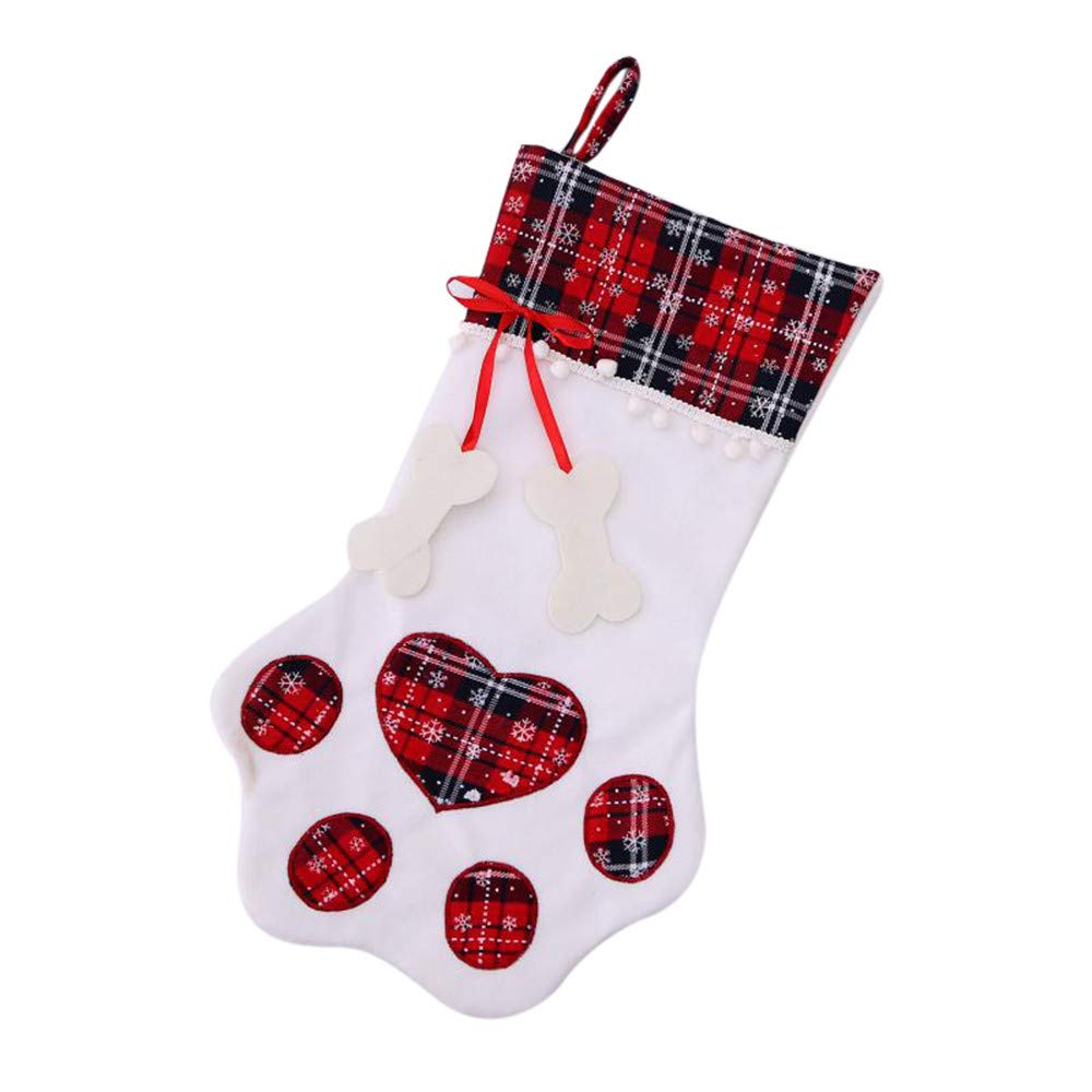 Hanging Christmas Stocking, Pet Dog Paw Cat Paw Holiday Design White Green Plaid with Polyester Cuff, Christmas Stocking for Pet Dog Cat Large Paw Stocking (Red) MatureGirl