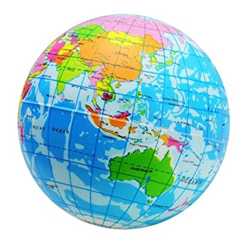 World Map Globe Ball. Funny World Map Globe Foam Stress Relief Bouncy Ball Amazon com