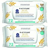 Attitude Baby Sensitive Skin Care Natural Baby Wipes, 72 Count (Pack of 2)