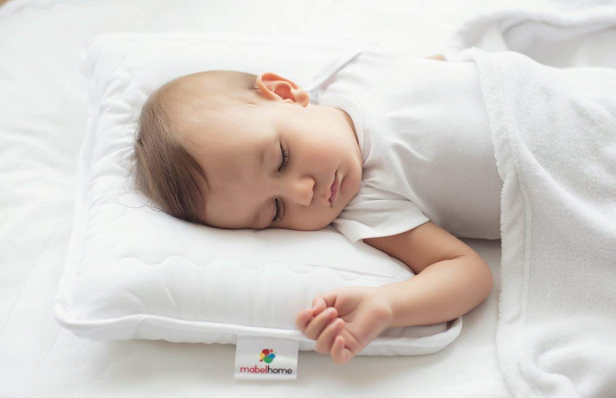 Mabel Home Kids Baby Toddler Pillow with Zipper Washable Pillowcase , White,14''x18''