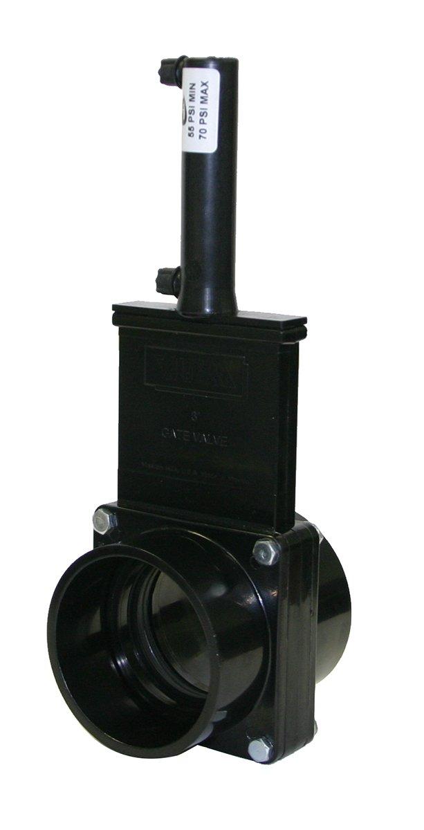 Valterra 9301P ABS Pneumatic Gate Valve, Black, 3'' Slip, Plastic Air Cylinder