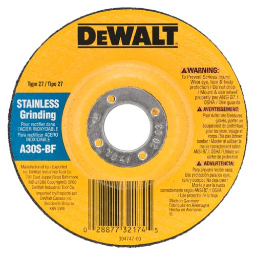 DEWALT DW8410 4-Inch by 1/4-Inch by 5/8-Inch Stainless Steel Grinding Wheel (25-Pack)