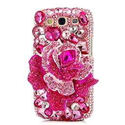 EVTECH(TM) 3D Handmade Crystal Rhinestone Beads Pink Crystal Rose Diamond Bling Cover Hard PC Back Case for Samsung Galaxy S3 I9300 T-Mobile T999 L710 Sprint/T999 T-Mobile/i747 AT&T/i535 Verizon(100% Handcrafted)