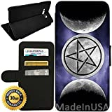 Flip Wallet Case for Galaxy S8 (Moon Goddess Symbol Wicca) with Adjustable Stand and 3 Card Holders   Shock Protection   Lightweight   Includes Stylus Pen by Innosub