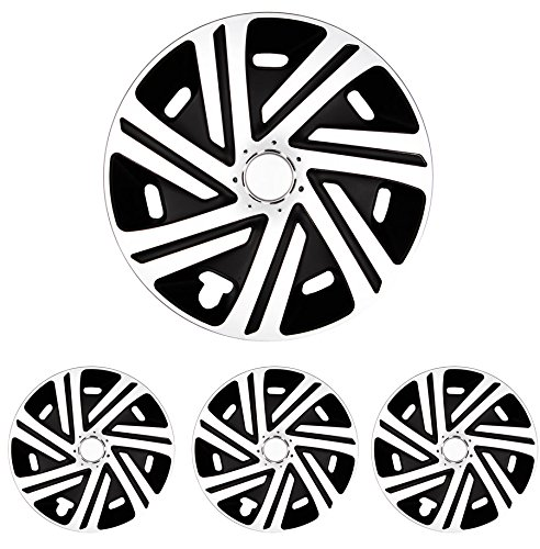 Tapacubos - Tapacubos Tapacubos cyrcon Blanco y Negro 15 pulgadas 15 R15 universal apto para casi todos los vehículos estándar con llantas de acero por ...