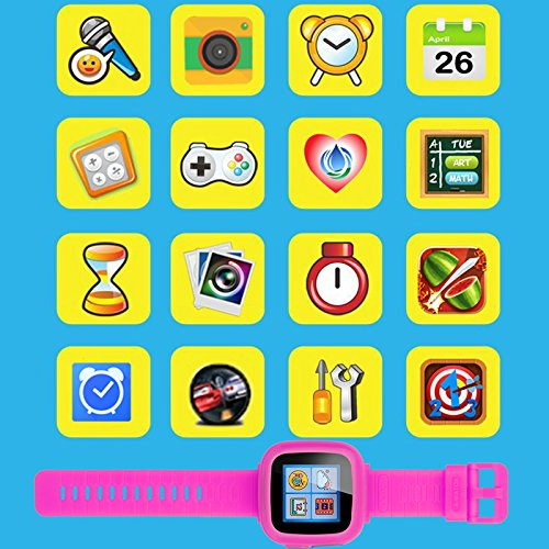 GBD Kids Game Watch,1.5'' Touch Smart Watches for Summer Birthday Gifts Travel Camping Kids Boys Girls with Pedometer Camera Alarm Clock Electronic Learning Toys (02Pink) by GBD (Image #7)