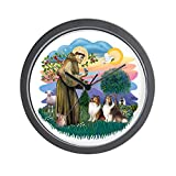 CafePress – St Francis 2F – Two Shelties Wall Clock – Unique Decorative 10″ Wall Clock For Sale