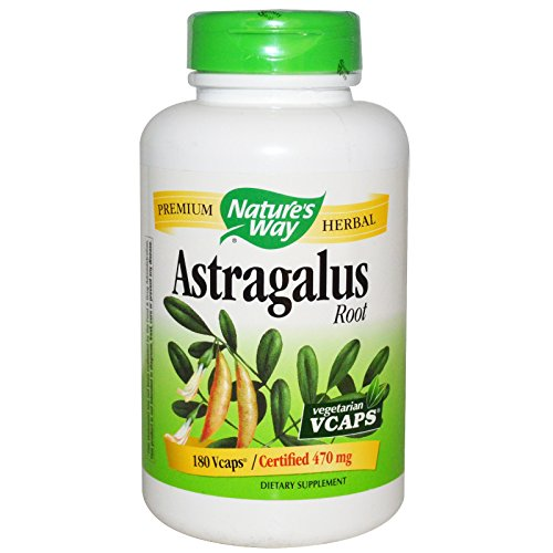 - Nature's Way Astragalus Root, 470 milligrams, 180 Vegetarian Capsules. Pack of 2 bottles