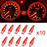 Ancdream 10Pcs 12v 1.2w T5 5mm Super Bright Red LED Wedge Car Dashboard Speedo Bulb 286