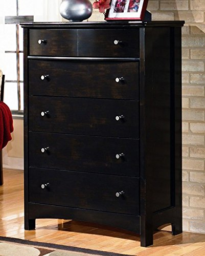 Dream Collection Vanity Mirror - Ashley Furniture Signature Design - Harmony Chest of Drawers - 5 Drawers - Contemporary - Dark Brown