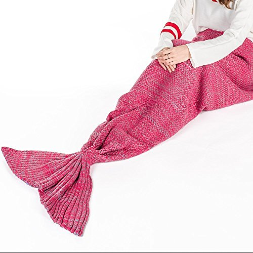 Back to School Mermaid Tail Blanket Knitted Crochet Super Soft Quilt Sleeping Bag for Adult ( 31.5 inch × 71 inch, Red ) - LakeMono