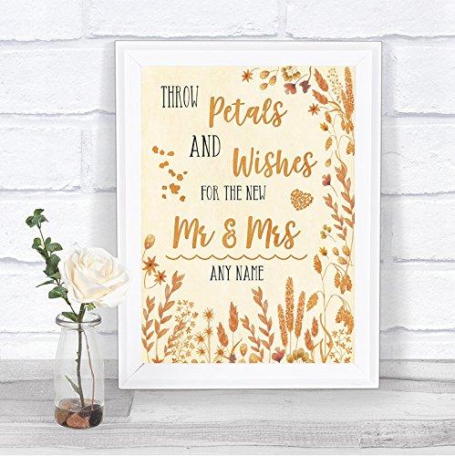 Hojas de otoño pétalos Wishes Confeti personalizada boda señal