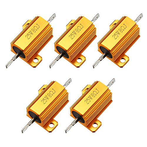 uxcell 25W 8 Ohm 5% Aluminum Housing Resistor Screw Tap Chassis Mounted Aluminum Case Wirewound Resistor Load Resistors Gold Tone 5 pcs
