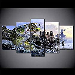 NATVVA Wall Home Decor Living Room Painting Modular 5 Pieces Animal Largemouth Bass Fishing Pictures HD Printed Modern Canvas Framed
