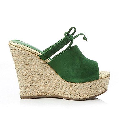 SLC03263 Green AdeeSu Sandals Microfiber Wedges Womens Platform Printing Bandage q08TfHq