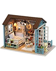 CUTEBEE Mini Wooden Dollhouse with Furnitures DIY Assembling House Miniature Crafts Toys for Children and Teens. Forest Time