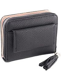 Women's Wallet RFID Blocking PU Leather Small Zipper Purse with ID Window
