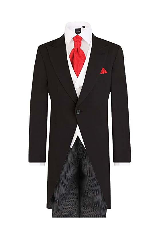 Edwardian Men's Formal Wear Dobell Mens Black 2 Piece Morning Suit with Striped Pants Regular Fit $279.95 AT vintagedancer.com