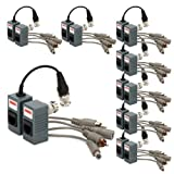 CCTV Balun, ZOTER Passive BNC to RJ45 CAT5 Video + Audio + Power Transceiver for Surveillance Camera (pack of 8)