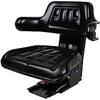 (1) Aftermarket Black Waffle Style Universal Tractor Suspension Seat with Tilt International Harvester 454 574 584
