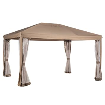 Abba Patio 10x13 Feet Fully Enclosed Garden Gazebo Patio Canopy With Mosquito  Netting   Brown