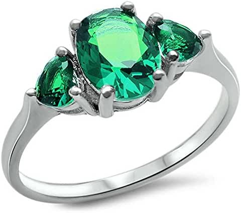 Oval & Heart Shape Simulated Green Emerald .925 Sterling Silver Ring Sizes 4-11
