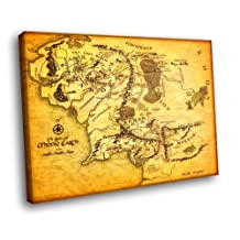 H5D8889 Map Of Middle Earth Lord Of The Rings 20x16 FRAMED CANVAS PRINT