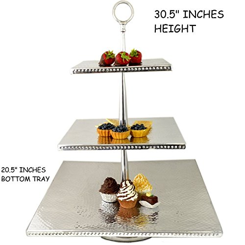 LARGE SILVER ALUMINUM CUPCAKE STAND PARTY DESSERT DISPLAY STAND FOR WEDDING AND PARTY BUFFET (SQUARE HAMMERED 3 TIER ROUNDED TOP HANDLE 20.5'')