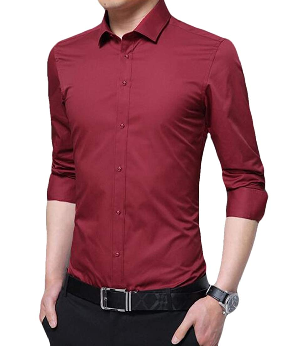 CRYYU Men Long Sleeve Casual Solid Color Office Plus Size Dress Shirt