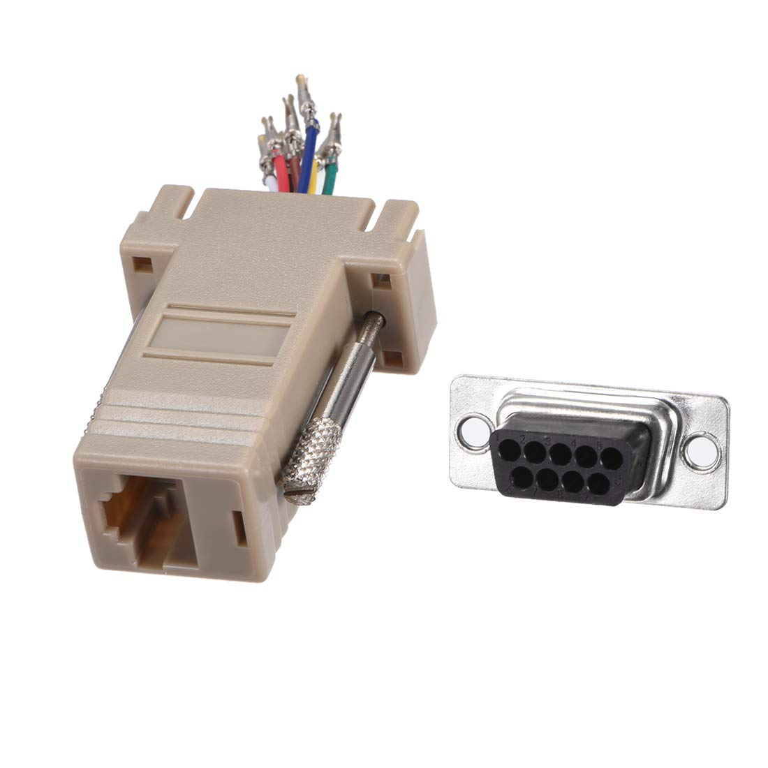 uxcell VGA Extender to RJ45 Network Cable Modular Adapter DB9 Female Port to RJ45 Female Enternet for Multimedia Video Beige Pack of 10
