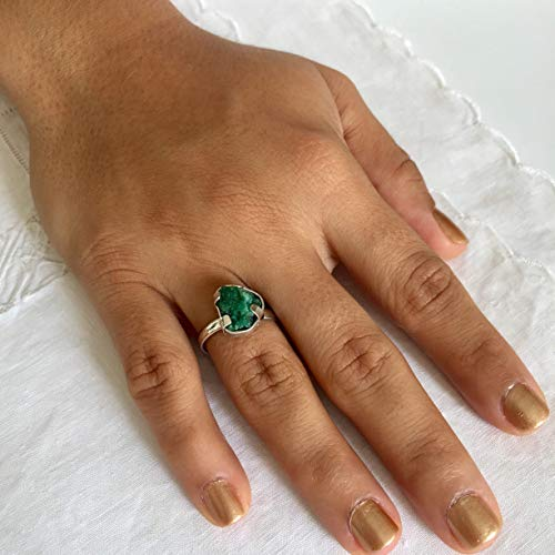 Genuine Colombian Emerald - Raw Emerald Ring by D'Mundo Accesorios. 11/12mm x 7/9mm Genuine Raw Colombian Emerald with Pyrite and Quartz. 925 Sterling Silver Ring. Size Adjustable Ring 6-11.