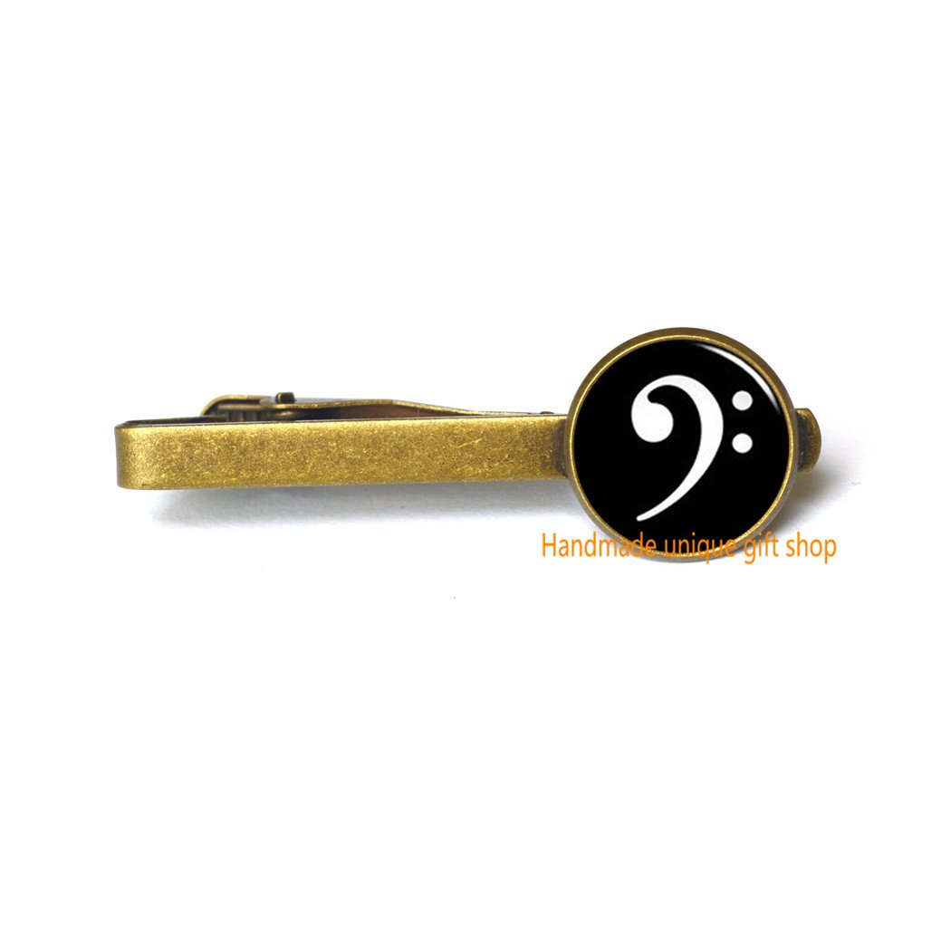 Treble and Bass Heart Music Jewelry-RC234 Treble and Bass Clef Handmade unique gift shop Modern Fashion Tie Clip,Beautiful Tie Clip,Music Tie Pin Tie Clip Musical Heart