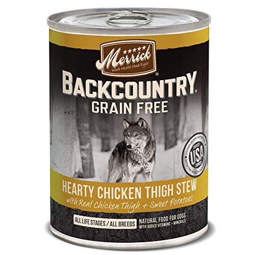 Merrick Backcountry Hearty Chicken Thigh Stew Grain Free Wet Dog Food, Case of 12, 12.7 oz. (Why Do We Crave Sweets)