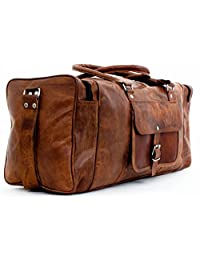 "crafat 24"" 100% Pure Leather Unisex Travel Brown Casual Duffle / Gym Bag"