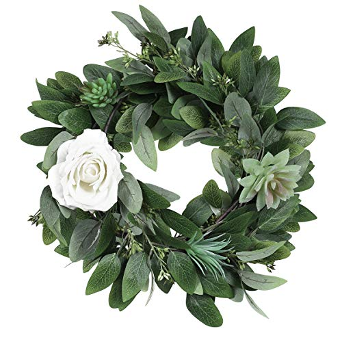 6 Pcs Artificial Seeded Eucalyptus Leaves Artificial Eucalyptus Stems Bulk in Green Eucalyptus Wreaths Garland Bouquet Floral Arrangements Holiday Christmas Thanksgiving Home Decor (Green, Pack of 6) ()
