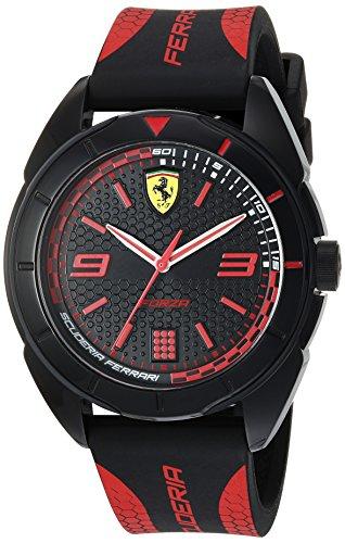 Ferrari Men's 'Forza' Quartz Plastic and Silicone Casual Watch, Color:red (Model: 0830515)