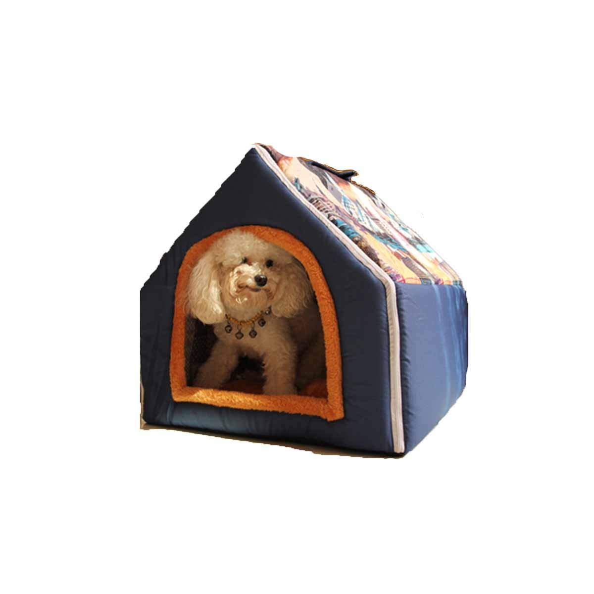 Kennel, Washable, Autumn and Winter, Dog House, Pet Nest, Teddy, Small Dog, Pet House, Cat Litter, Cat Room (color   bluee, Size   XL)